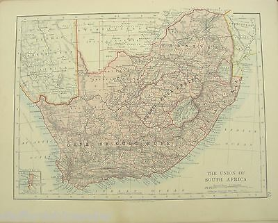 Vintage c1913 Map The Union of South Africa by W AK Johnson