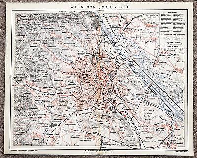 1889 Vienna and Environs Map Railroads Original Brockhaus Wien Und Umgegend