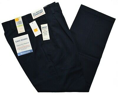 Dockers #9844 NEW Men's Navy Pleated Classic Fit Easy Khaki Stretch Pants Classic Fit Pleated Khaki