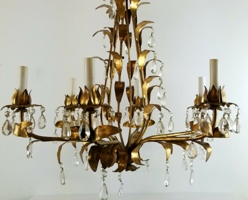 Vintage Italian Chandelier Gold Gilt Drop Crystals Leaves Italy 26in Wide 6 Arm
