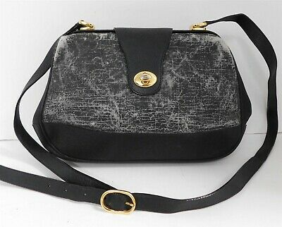 Gucci Vintage Accessories Collection Black Distressed Leather Crossbody Bag