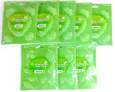 MAKIN'S CLAY PUSH MOLDS LOT OF 8 HEARTS AND LEAVES 5 Heart 3 Leaf Sets >NEW<