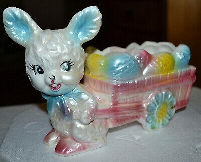 Vintage Rubens Ceramic BUNNY RABBIT Pulling EASTER EGG Cart Planter 1202 Japan Ceramic Egg Planter