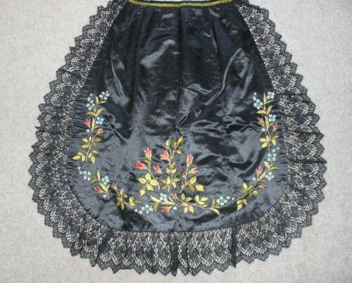 Antique Victorian Silk Satin Embroidered Ladies Apron