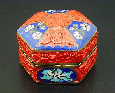 China Dose Rotlack Cloissone chinese box cinnabar lacquer