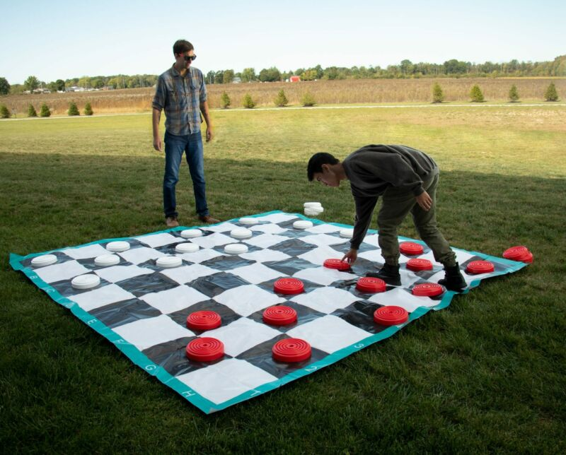 Giant Lawn Checkers 10x10 ft Mat Outdoor Party Yard Board Game Set