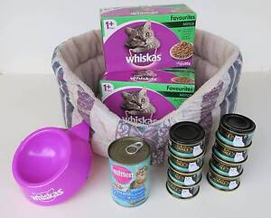 Cat Pet Bed + Whiskas Bowl Fancy Feast Royale & Whiskas Cat Food Woodcroft Morphett Vale Area Preview