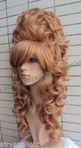 Sandy Blonde High Cone Beehive Curls Long Drag Queen Womens Stage Julienne Wig