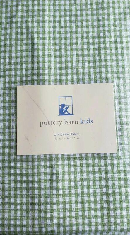 "Pottery Barn Green Gingham Curtain Pole Pocket Panel 63"" NEW Kids"