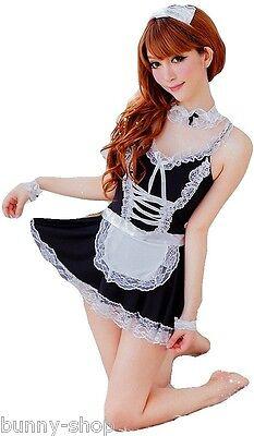 6-teiliges Zimmermädchen OUTFIT MAID: Kleid mit Schürze Armbändern Halsband (Kostüme Etc)