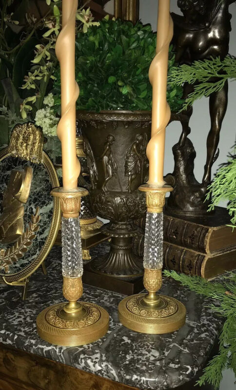 Antique Pair French Empire Gilt Bronze French Neoclassical Candlesticks