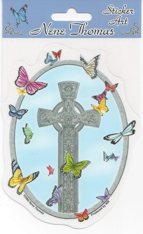 CROSS & BUTTERFLIES Butterfly Fairy Sticker Car Decal Nene Thomas