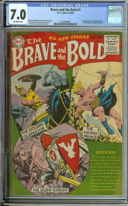 BRAVE AND THE BOLD #1 CGC 7.0 OW PAGES