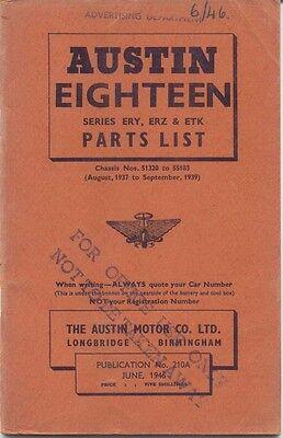 Austin Eighteen 18 ERY ERZ & ETK original Parts List 1946 No. 210A UNILLUSTRATED