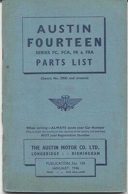 Austin Fourteen 14 FC FCA FR FRA original Parts List 1946 198 UNILLUSTRATED