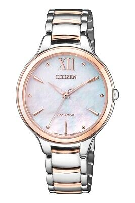 Citizen Eco-Drive Women's Mother of Pearl Dial Two Tone 32mm Watch -