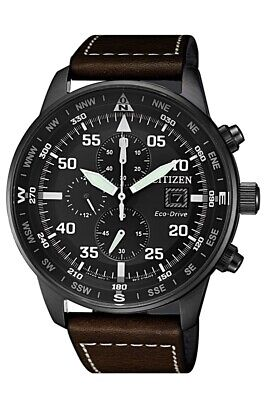 Citizen Eco-Drive Men's Chronograph Brown Leather Strap 44mm Watch CA0695-09E