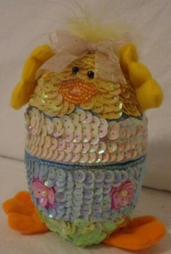 VINTAGE EASTER EGG TRINKET BOX HATCHING BABY CHICK SEQUIN BEAD FABRIC JEWELRY