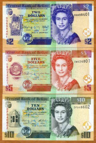 Set Belize, 2;5;10 Dollars, 2016-2017, QEII, P-66f-67g-68e, UNC