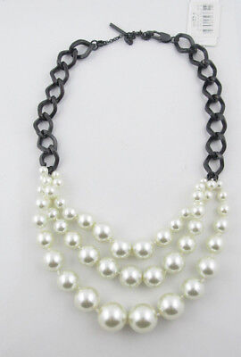 $55 Kenneth Cole New York White 3-Row Beaded Necklace NWOT