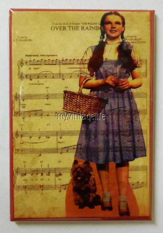 "Wizard of Oz Dorothy & Toto Over the Rainbow 2"" x 3"" Fridge MAGNET"