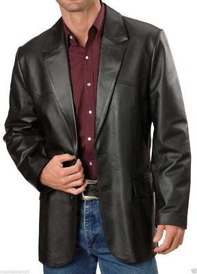 Brand New Men's Genuine soft Lambskin Leather Blazer Jacket TWO BUTTON Coat NF02 Button Lambskin Leather Blazer