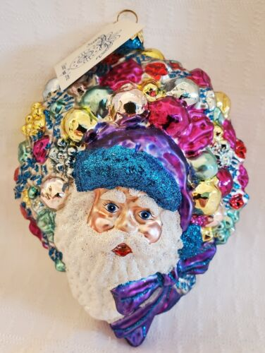"Larry Fraga Ornaments Galore Santa Blown Glass Christmas Ornament - 5.75""H - NIB"