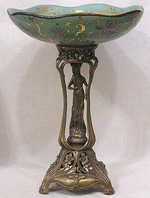 Vintage ART NOUVEAU Porcelain and Metal Compote Lady Figure Flowers HP Dish