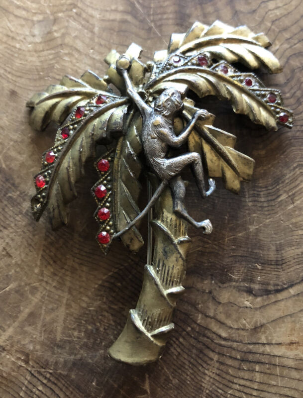 Antique Brooch Monkey in Tree Red Rhinestones Gold-silver Tone