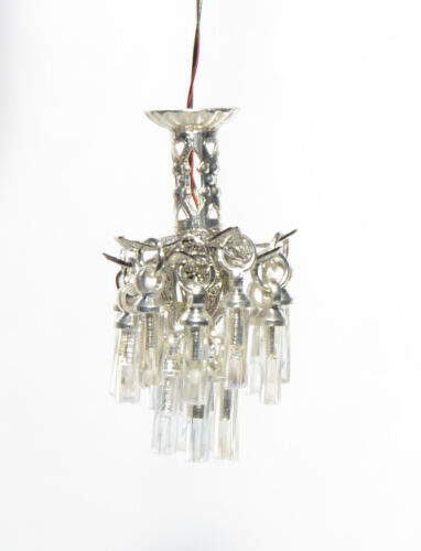 """1:48 1/4"""" Scale Dollhouse Miniature Light Crystal Chandelier with 3V LED 0001185"""
