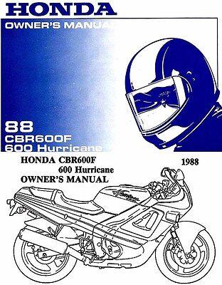 1988 HONDA CBR600F HURRICANE 600 MOTORCYCLE OWNERS MANUAL -HURRICANE-CBR 600 F