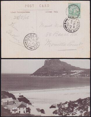 CAPE COLONY 1908 photo card HOUT BAY 'Sentinel' via WYNBERG to THREE ANCHOR BAY Bay Cape