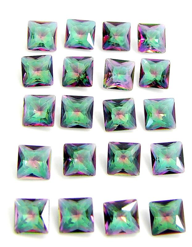 5.00 Ct Natural Mystic Topaz 4 mm Princess Cut Loose Gemstone 20 Pcs Lot - 24868