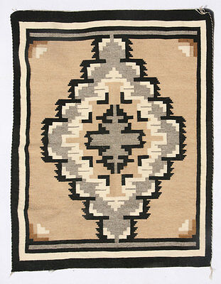c. 1940s-50s Navajo Two Grey Hills Tapestry Weaving, 31.5