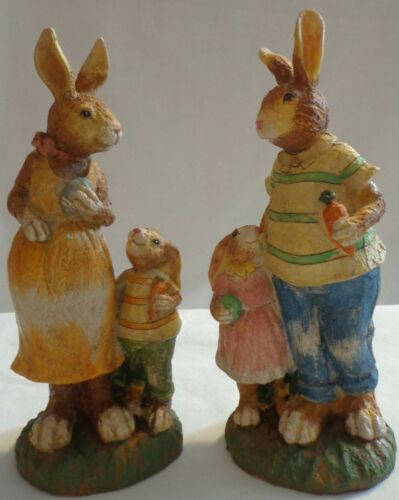 BUNNY RABBIT FAMILY FIGURINE SET TII COLLECTIONS EASTER RESIN MOM DAD w/ CHILD