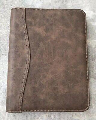 Daytimer 7 Ring Binder Brown Faux Leather Zip Around Organizer Planner Classic 4