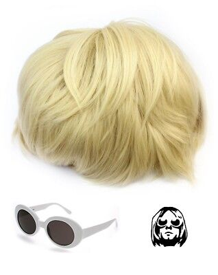 Kurt Cobain Wig And White Glasses NIRVANA Costume Teen Spirit Grunge Fancy (Kurt Cobain Kostüme)