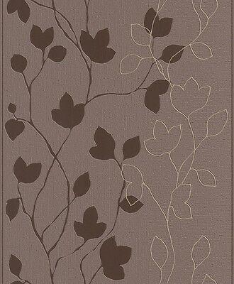 Rasch Tapete 770216 Vliestapete braun mit Blumen TB
