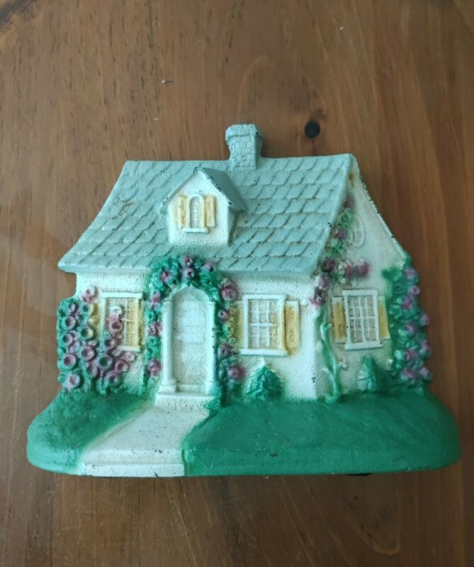 Vintage doorstop John Wright Cast Iron Country Cottage Home Hollyhock Flowers