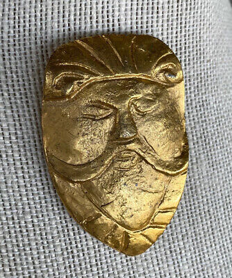 Pin Head Mask (Vintage Brooch Pin Gold Tone Mask Man Face Head with Mustache)