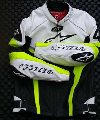 Replica Alpinestars Men's Celer Leather Jacket Black/White/Yellow