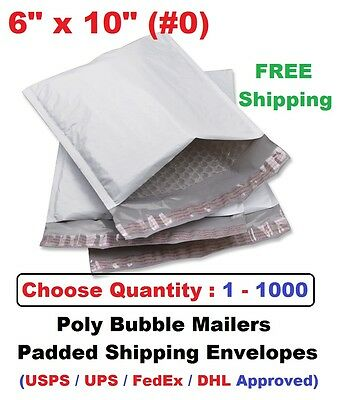 0 6x10 Poly Bubble Mailers Padded Shipping Envelopes Self Sealing Bags 1 - 1000