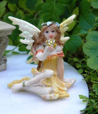 Miniature Fairy Garden Yellow Terrarium Fairy w/ Glitter Ball - Buy 3 Save $5 (Fairy Garden Terrarium)