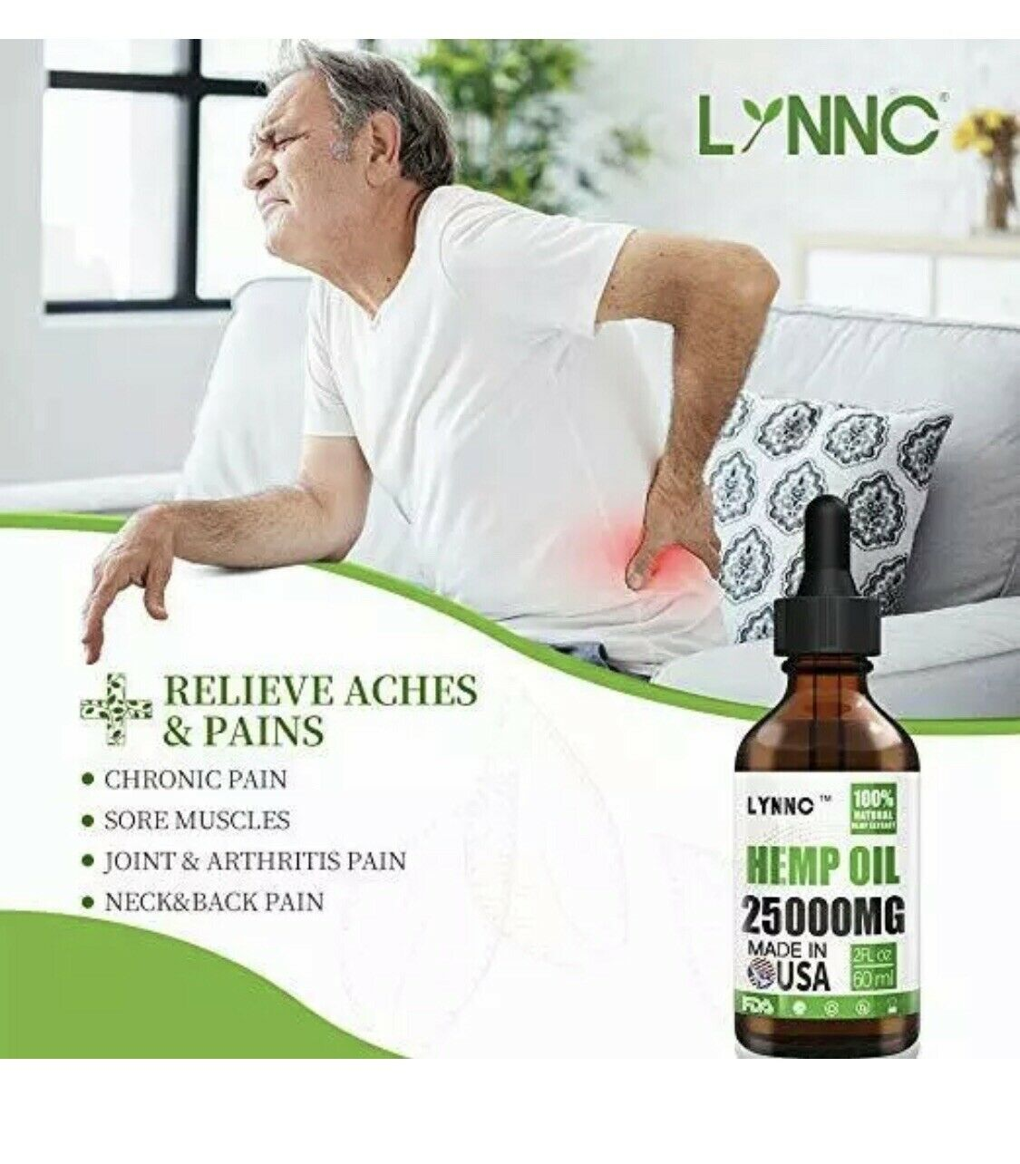 LYNNC Hemp Oil for Anxiety Relief  25000 MG Premium Seed Grade Natural Hemp NEW! 3