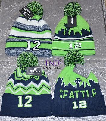 Seattle Seahawks Number 12  12 Fan Knit Cuffed Beanie Hat With Pom Pom