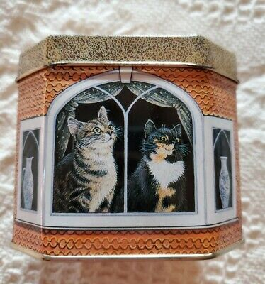 VTG 1990 hunkydory Metal Tin House With Cats Made In England Lesley Anne Ivory