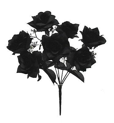 Black 7 Open Roses  Soft Silk Wedding Flowers Bouquets Bridal Centerpieces Decor
