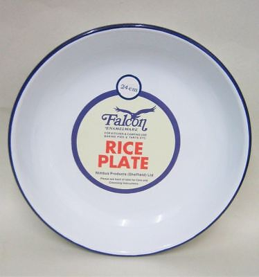 Falcon Enamel Rice / Pasta Plate Traditional White - 24 x 4cm / 9.4