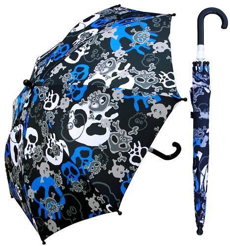 "32"" Arc Children Kid Pirate Skull Umbrella - RainStoppers Rain/Sun UV"