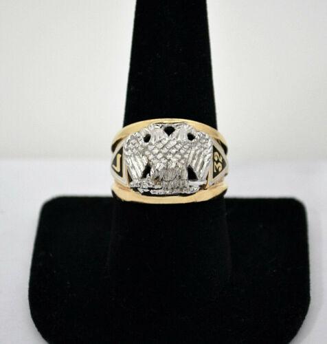 #8576 - Masonic Double headed Eagle 32nd Degree - Heavy 10k Gold Ring - Sz 9